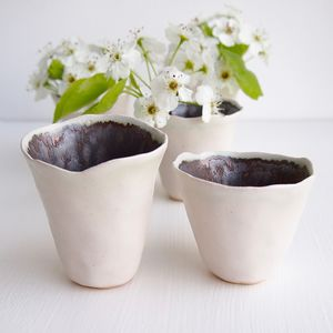 Handmade Small White And Gold Ceramic Flower Vases - vases
