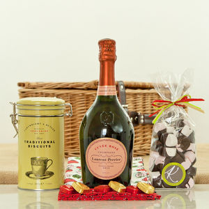 Laurent Perrier Rose Champagne And Sweet Treat Hamper - picnic hampers & baskets