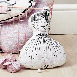 Ballerina Doll Pink Cushion Music Box - gifts for babies & children