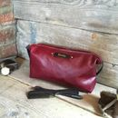 Ox Blood Red Leather Toiletry Bag