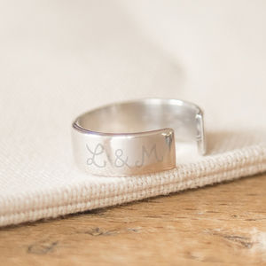Personalised Men's Large Open Ring