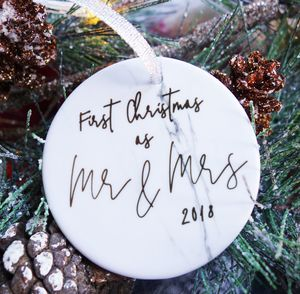 Marble First Christmas Mr And Mrs Keepsake Decoration