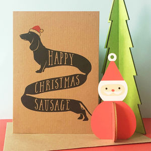 'Happy Christmas Sausage' Dachshund Christmas Card