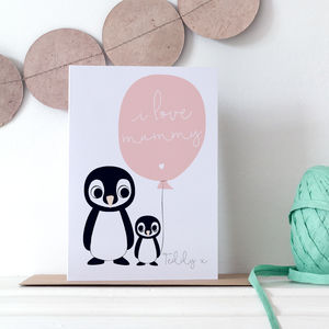Personalised Mummy Mother's Day Card With Penguins