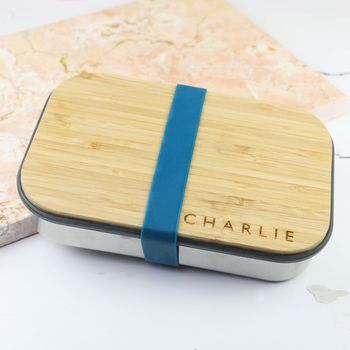 Personalised Stainless Steel Lunch Box With Bamboo Lid