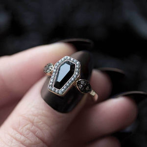 Black Onyx And Pearl Coffin Ring In Silver Or Gold