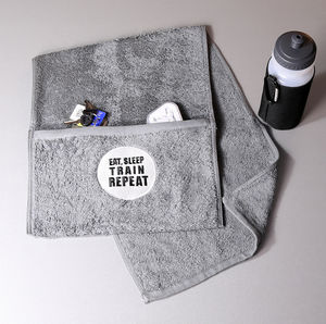 Eat, Sleep, Train, Repeat Zipped Pocket Gym Towel - gifts for teenage boys