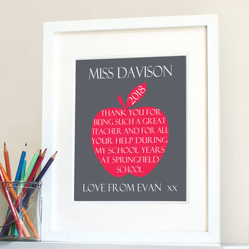 Personalised Thank You Teacher Apple Print