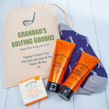 Personalised Golf Socks And Mens Toiletries Gift Set