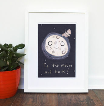 To The Moon And Back Nursery Print Children's Art