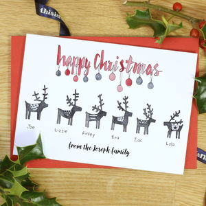 Personalised Mono Reindeer Family Christmas Cards
