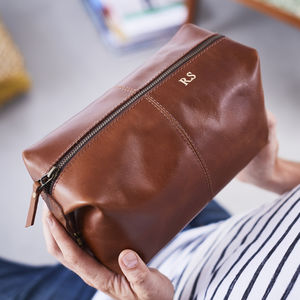 Leather Wash Bag - gifts for him