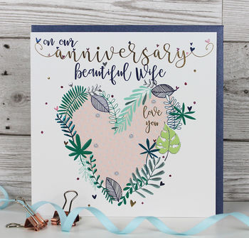 Luxury Wife Anniversary Card
