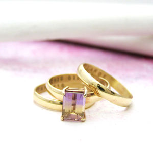 Personalised 9ct Gold Ametrine Stacking Rings - gifts for her sale