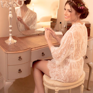 Bridal White Lace Dressing Gown - women's fashion