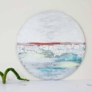 Circular Abstract Painting 'Breaking Ice' - mixed media & collage