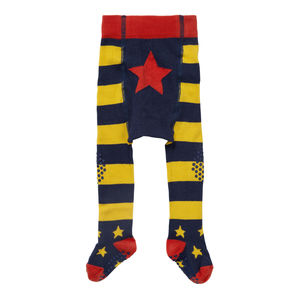 Blue And Yellow Stripe Baby Crawler Tights - children's tights