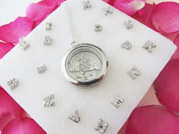 Initial And Birthstone Glass Locket Necklace