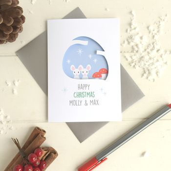 Personalised Couples' First Christmas Mouse Card