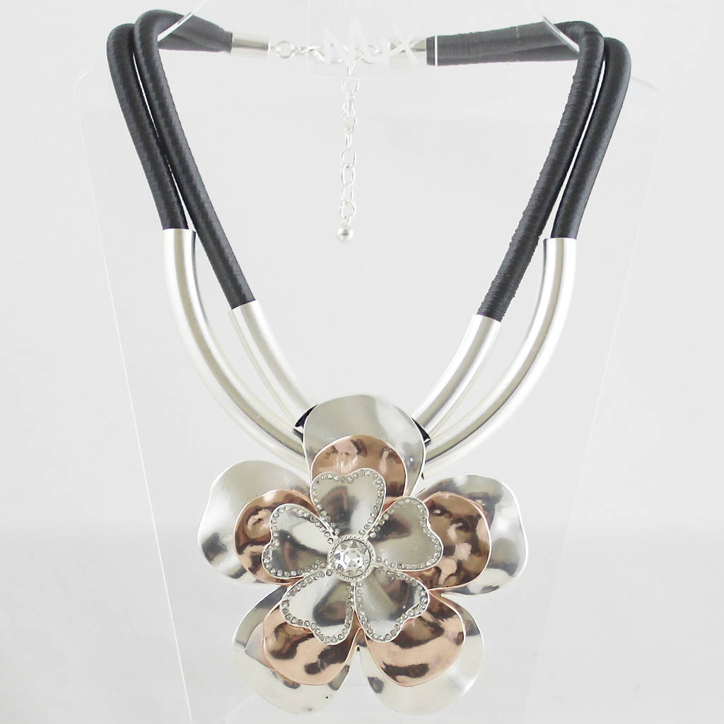 high polished jewelry out big under steel casting stainless new cut best finish metal product grade flower smooth hollow floral necklace