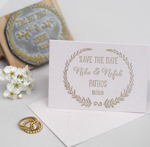 Grecian Wedding Save The Date Wreath Stamp