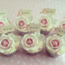 'mr & mrs' Party Picks - ivory with pastel pink bows