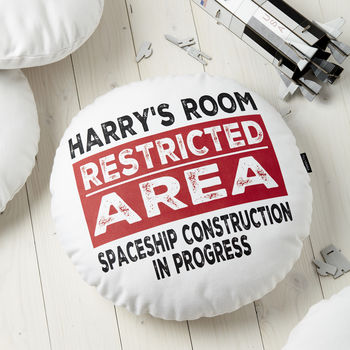 Personalised Restricted Area Round Cushion