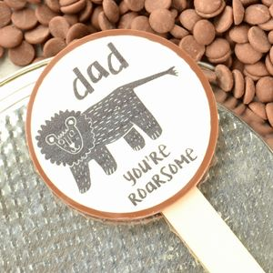 'Dad You're Roarsome' Belgian Chocolate Lolly - chocolates & confectionery