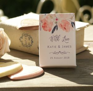 Floral Wedding Chocolate Favours Personalised Boxes