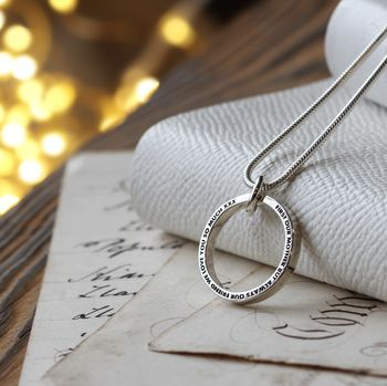 Personalised Halo Ring Necklace - Aharoni Font