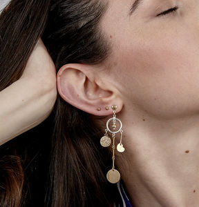 Damaris Gold Heart Stud And Drop Earrings
