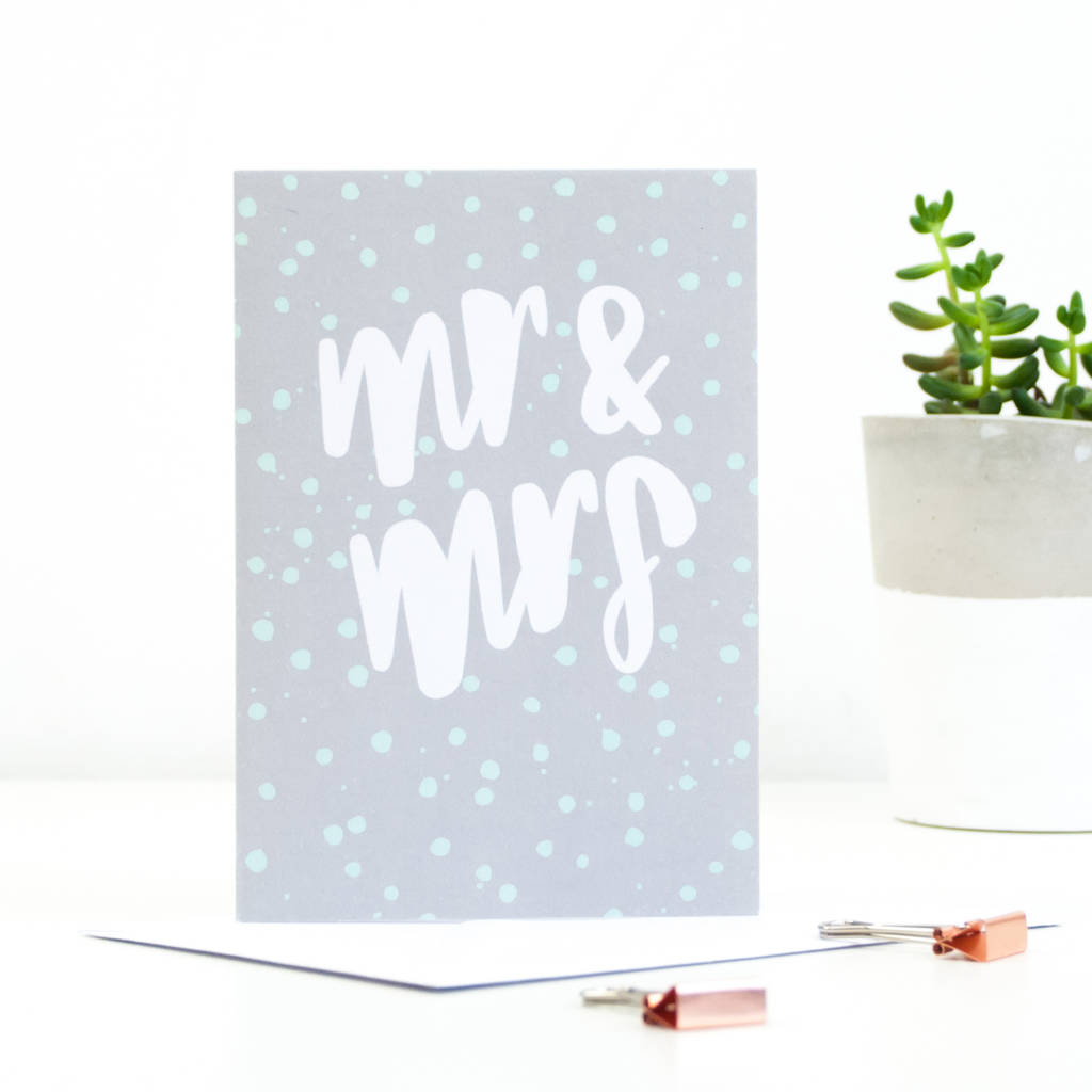 Mr And Mrs Wedding Greetings Card By Sadler Jones