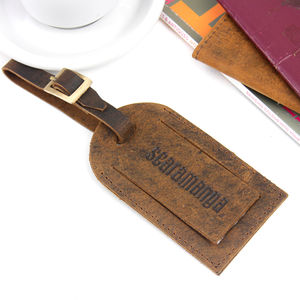 Personalised Leather Luggage Tag With Buckle