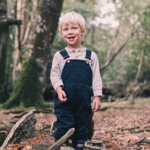 Ink Blue Brushed Denim Dungarees - clothing