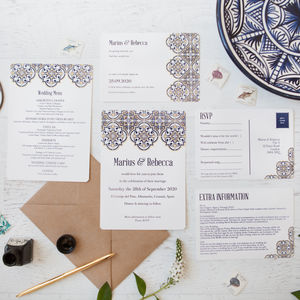 Spanish Tile Wedding Stationery - save the date cards