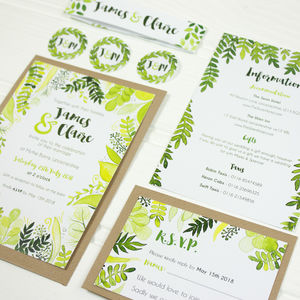 Botanical Wedding Invitation And RSVP - wedding stationery