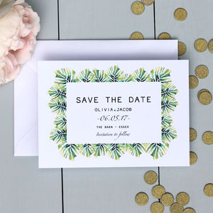 Palm Leaf Save The Date Card - table plans