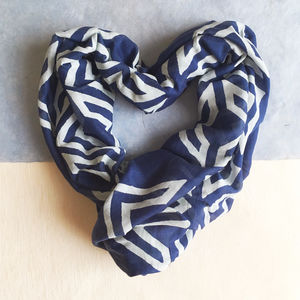 Silk Cotton, Block Printed Scarf, Indigo