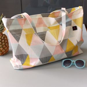 Geometric Print Oilcloth Weekend Bag