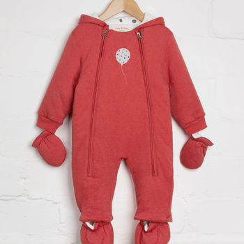Red Marl Snowsuit With Balloon Appliqué