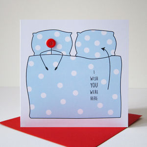 'I Wish You Were Here' Button Card