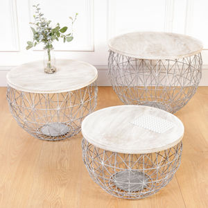 Set Of Three Industrial Nesting Storage Tables - furniture