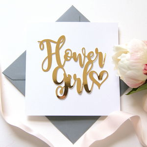Luxe Gold Flower Girl Card - bridesmaid cards