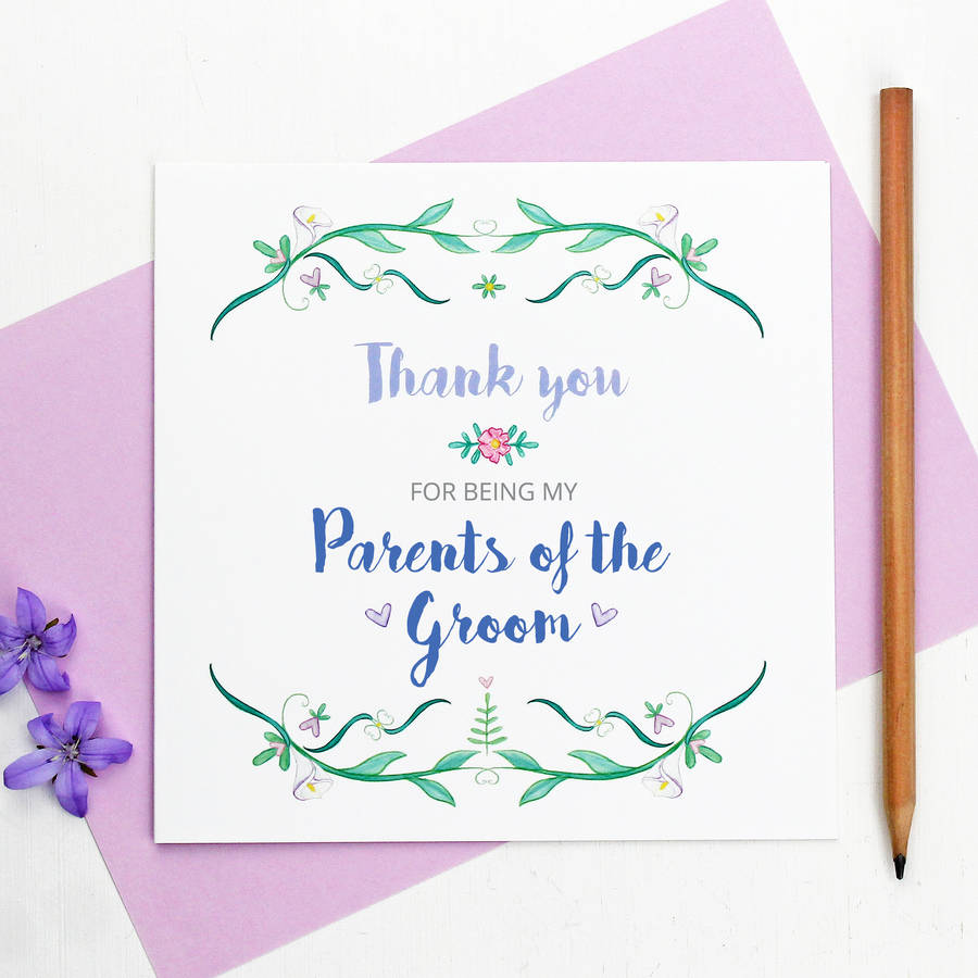 parents of the bride or groom thank you card by martha brook ...