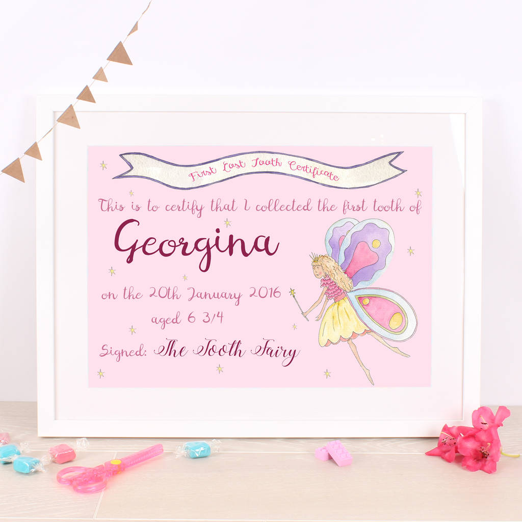 childrens tooth fairy certificate print by milly green