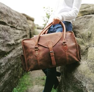 Leather Travel Bag In Waxed Finish - whats new