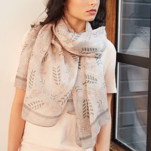 Silk Feather Scarf In Pink And Grey - scarves