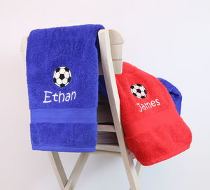 Kids Personalised Football Bath Towel - bed, bath & table linen