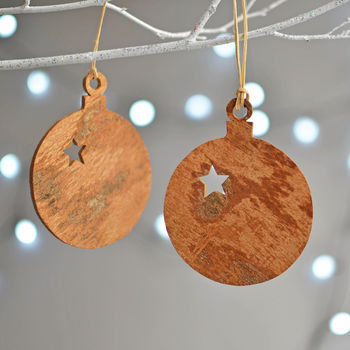 Wooden Cinnamon Bauble Christmas Decoration