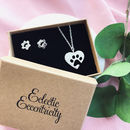 Pet Paw Print Necklace And Earrings Gift Set